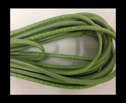 Round stitched nappa leather cord 4mm-crocodile style-green
