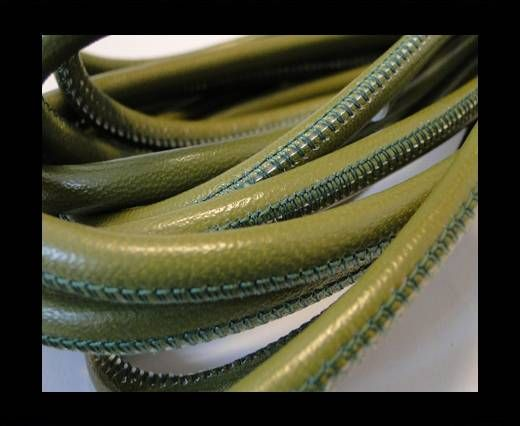 Round stitched nappa leather cord Green-6mm