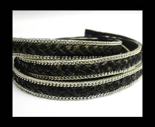Flat Braided 3 ply with Silver chain - 10mm - Vintage Black