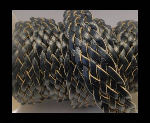 Cordón trenzado plano- Estilo 4- 18mm- Azul Oscuro