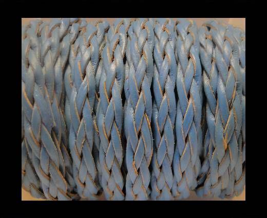 Cordón trenzado plano- Estilo 3- 10mm- Turquesa