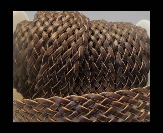 Cordón trenzado plano- Estilo 5- 25mm- Marrón Oscuro