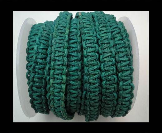 Flat Braided Cords-10MM- Stair Case Style-Turquoise