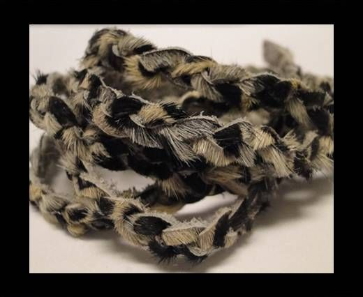 Braided Round Hair-on Leather-Zebra Skin-5mm
