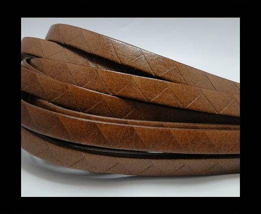 Flat Italian Leather- Stripes -10mm- Brown