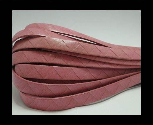 Flat Italian Leather- Stripes -10mm- Pink