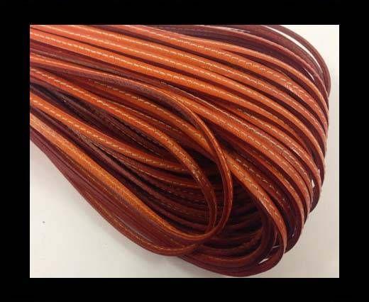 Flat leather with stitch - 4 mm - orange