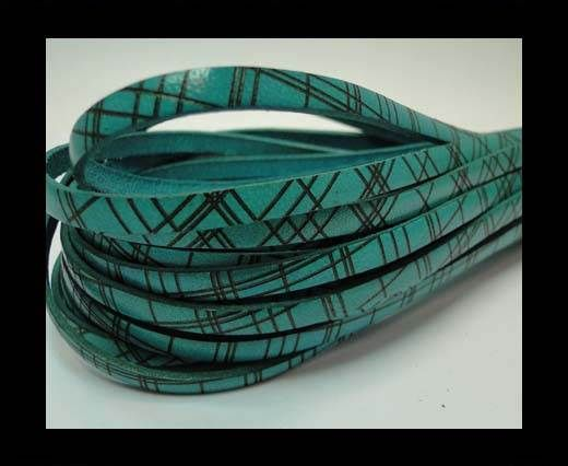 Flat leather with with crossed lines-5MM-Turquoise