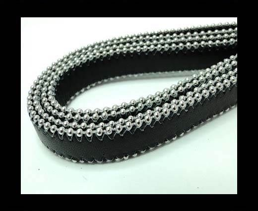 Flat Nappa Leather with Chains - 14mm -  Black