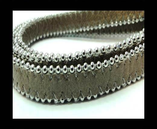 Flat Nappa Leather with Chains - 14mm -  Dark Brown