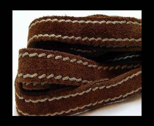 Flat Suede Leather Double Stitched 27902-Brown- 10mm