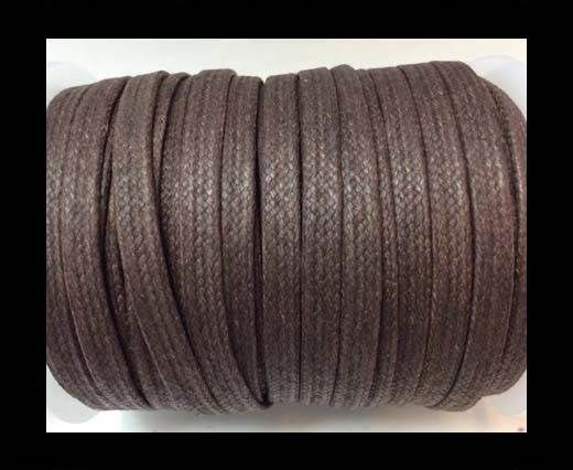 Flat Wax Cotton Cords - 5mm  - Coffee Brown