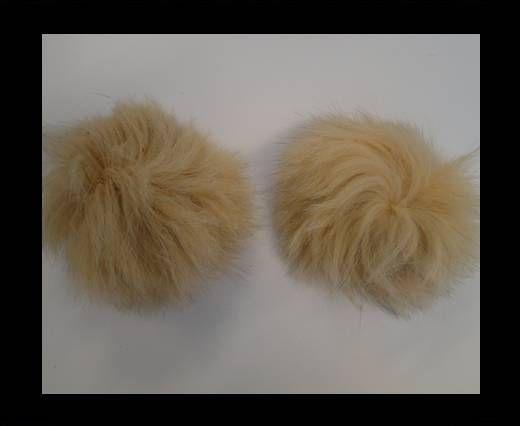 Fox Fur Pom Pom-Cream-10cms