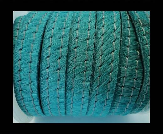 Hair-On Leather with Stitch-Turquoise-10mm