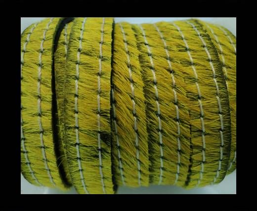 Hair-On Leather with Stitch-Yellow-10mm
