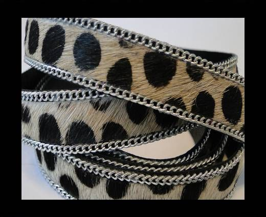 Hair-on leather with Chain - Dalmatian (big dots) - 10mm