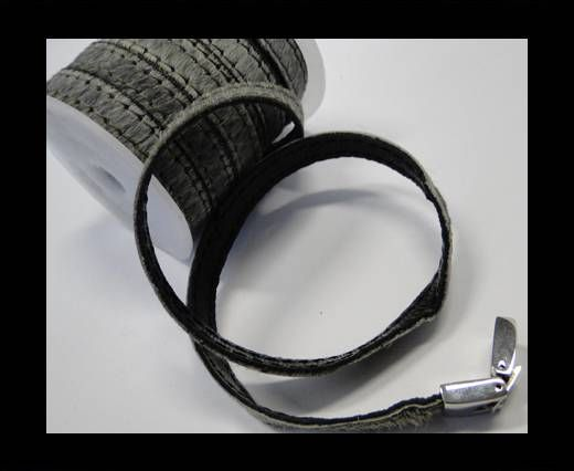 Hair-On Leather with Stitch-Grey -10mm