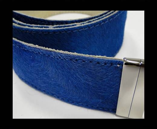 Hair-On Leather Belts-Light Blue-40mm