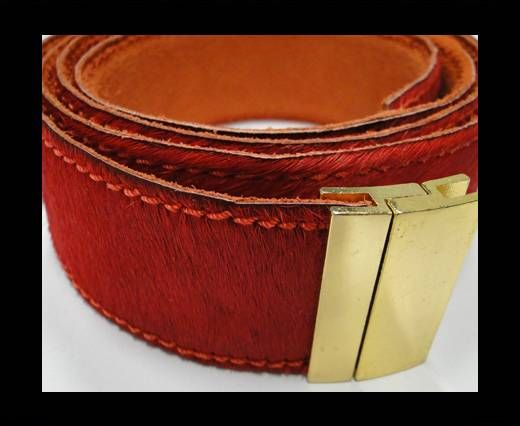 Hair-On Leather Belts-Red -40mm