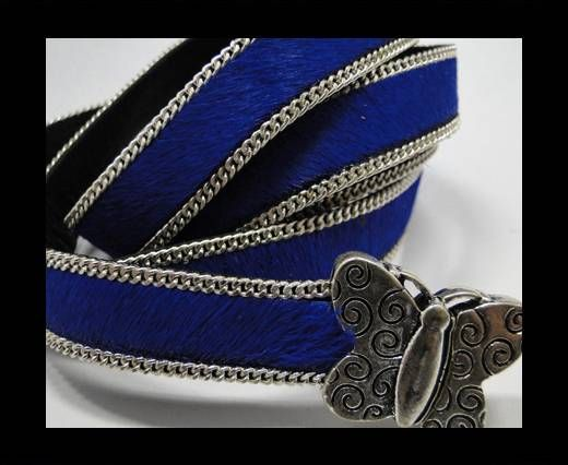 Hair-On Leather with silver Chain-Violet Silver