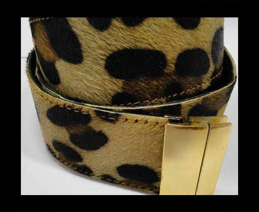 Hair-On Leather Belts-Leopard Print-40mm