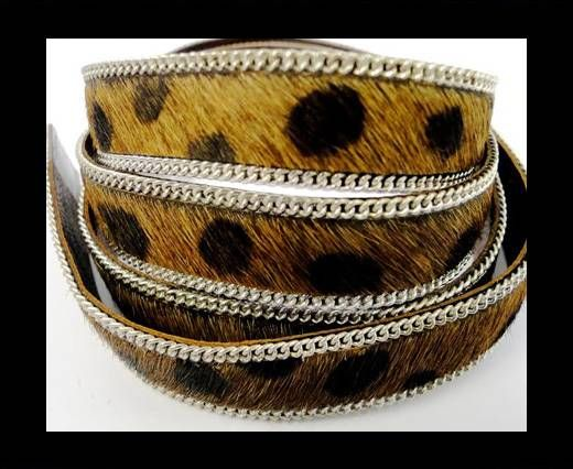 Hair-on leather with Chain-Dalmatian Brown (big dots)-14mm