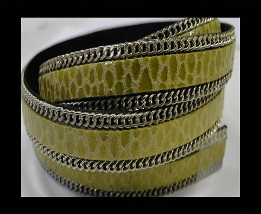 Hair-on leather Chain-Snake Grass green-10mm