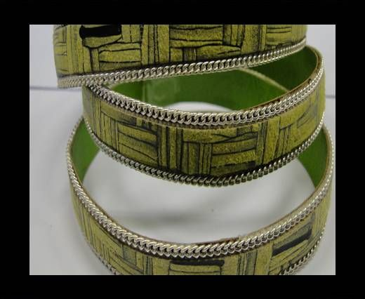 Hair-on leather with Chain - 14 mm - Green bricks