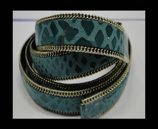 Hair-on leather with Chain - 14 mm - Snake Turquoise