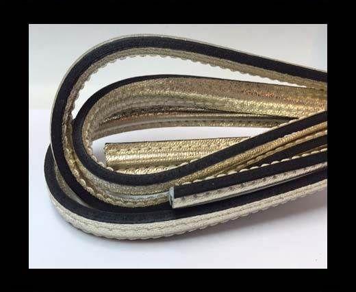 Half round stitched Leather -10mm- Platinum