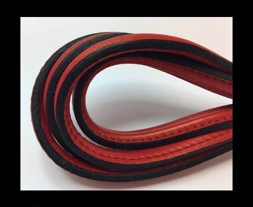 Half round stitched Leather -10mm- Red