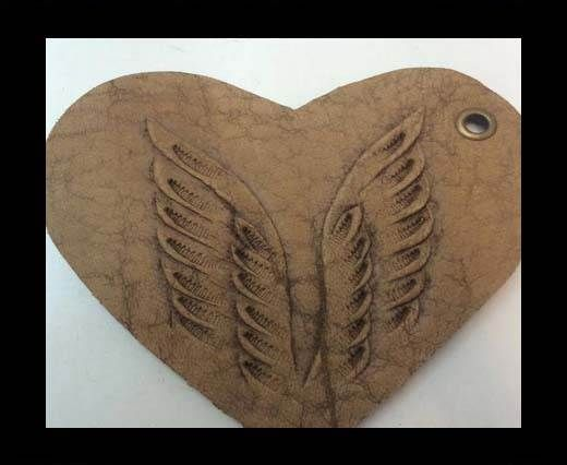 Heart 8cm - style 3 - Natural Leather Embossed