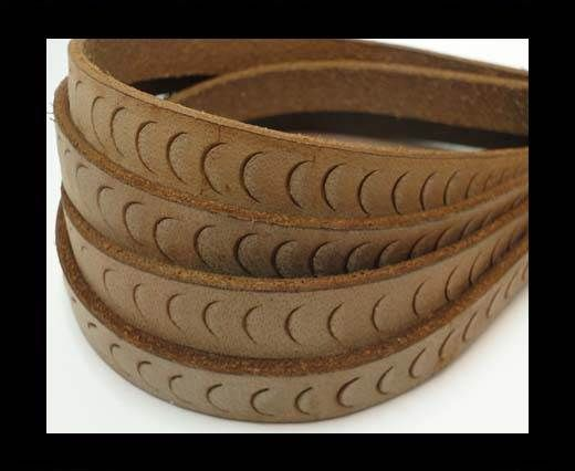 Vintage Style Flat Leather-Fish Style-14mm-Light Brown