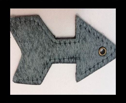 KC-Key Cord Arrow Shape 8cm grey hair-on