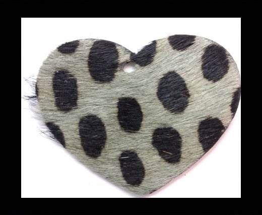 KC-Key Cord Heart Shape 4cm dalmata green hair-on