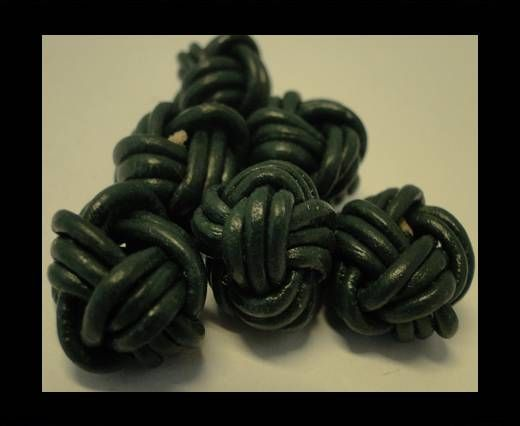 Leather Beads -12mm-Dark Green