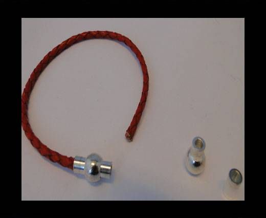 Magnetic Locks for leather Cords - MGL-1-3MM-Silver