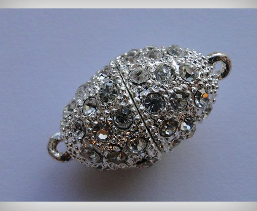 Magnetic Lock with Crystals - MG3-14mm-Silver