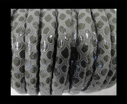 faux nappa leather 6mm Snake-Style-Round-Grey
