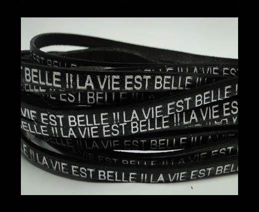 Real Flat Leather-LA VIE EST BELLE-Silver-Brown