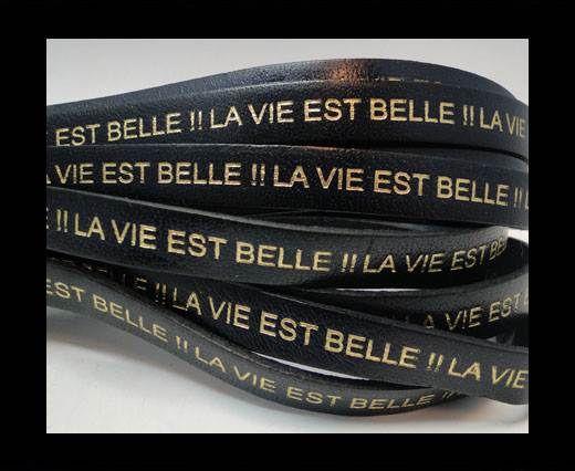 Real Flat Leather-LA VIE EST BELLE-Blue with Gold