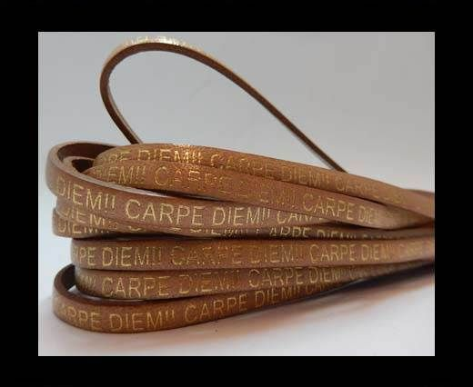 Real Flat Leather-CARPIDIEM-Bone with gold