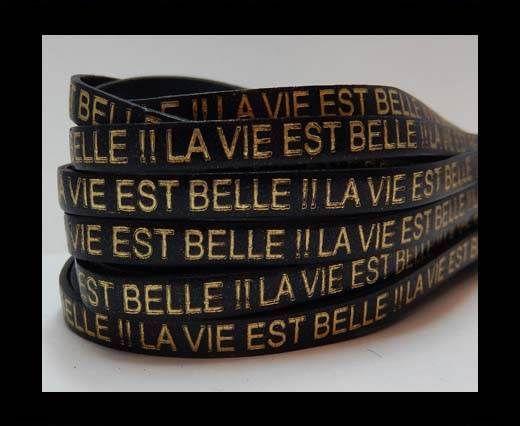 Real Flat Leather-LA VIE EST BELLE - black with gold