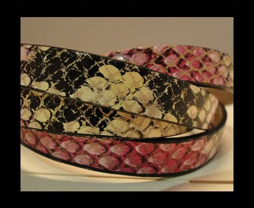 Real Leather Snake Style - Pink and Brown-10mm