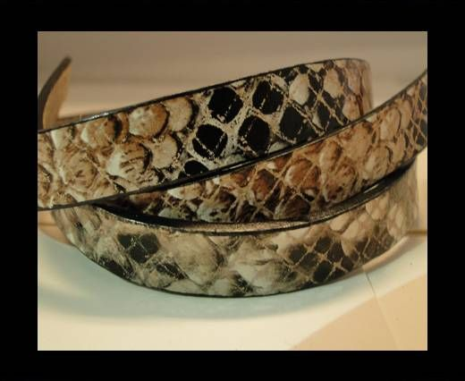 Real Leather Snake Style - Brown and Black-10mm
