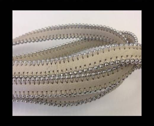 Real Nappa Flat Leather with steel balls chains-10mm-Beige