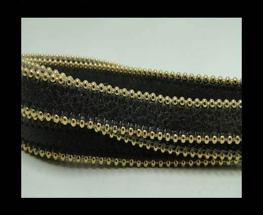 Real Nappa Flat Leather with gold plated ball chains-10mm-Dark t