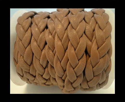 Real Nappa Leather -Flat-Braided-Camel-10mm