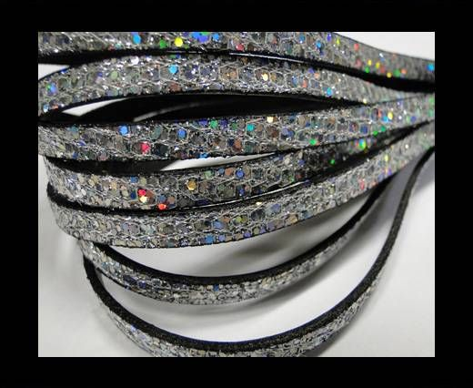 Real Nappa Leather -  Silver -Glitter Style -10mm