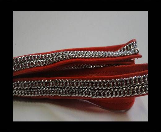 Real Nappa Leather with Double Stainless Steel Chain -10mm-Red